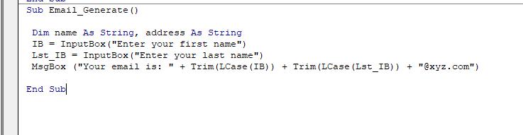 Email generate VBA code
