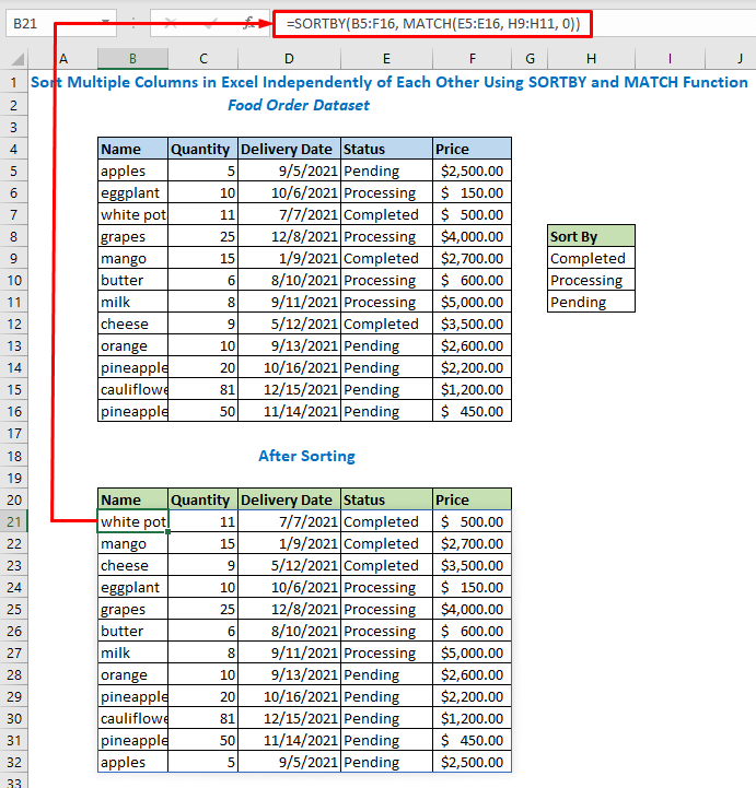 Enter the formula using Sortby and match function