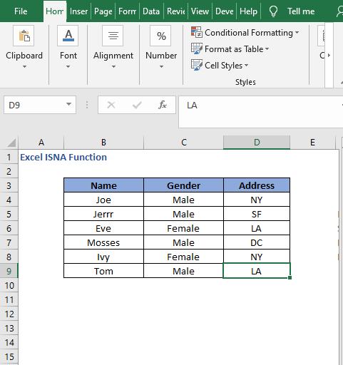 Dataset for NOT logic - Excel ISNA Function