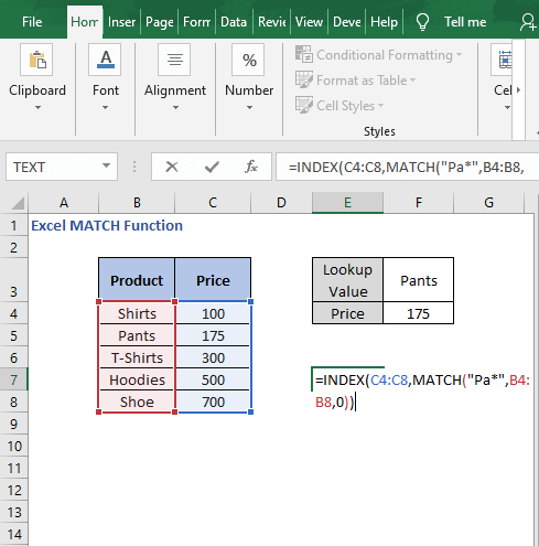 Wildcard - Excel MATCH Function