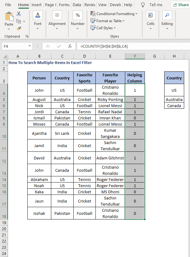 AutoFill - How To Search Multiple Items In Excel Filter