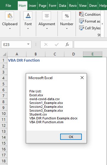 Code result to find all files - VBA DIR Function