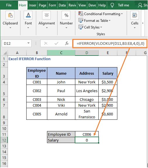 VLOOKUP with IFERROR - Excel IFERROR Function