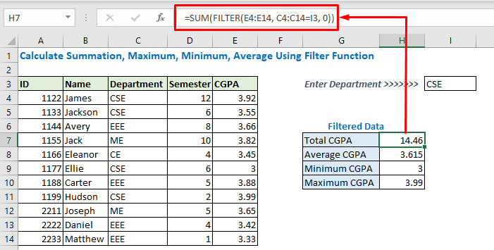 Enter formula using SUM and filter function
