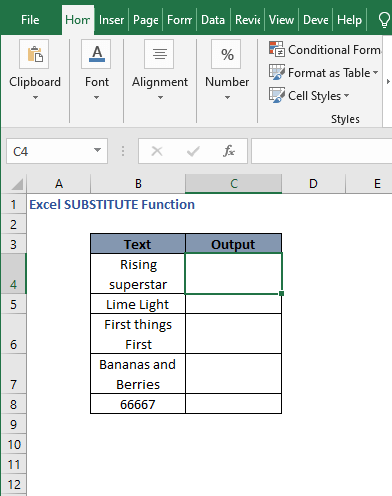 Dataset of instances example - Excel SUBSTITUTE Function