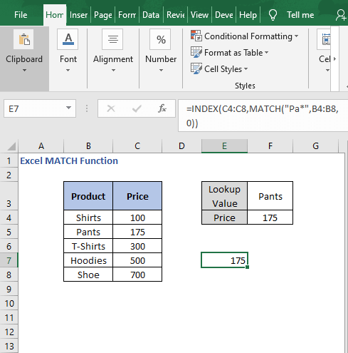 Wildcard result - Excel MATCH Function