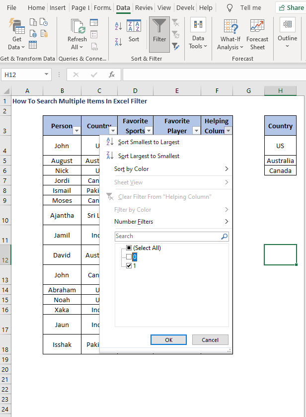 Filter in Helper data - How To Search Multiple Items In Excel Filter