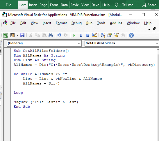 Code to find all files and folders- VBA DIR Function