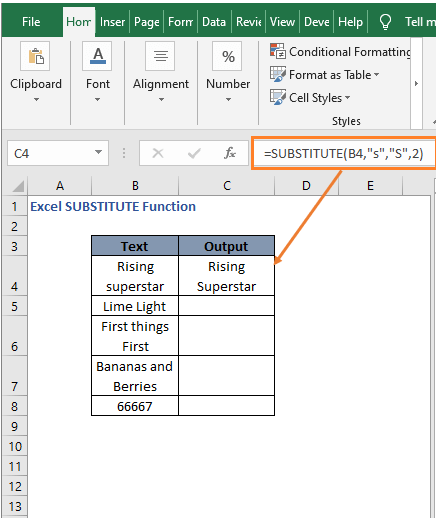 Result in instances example - Excel SUBSTITUTE Function
