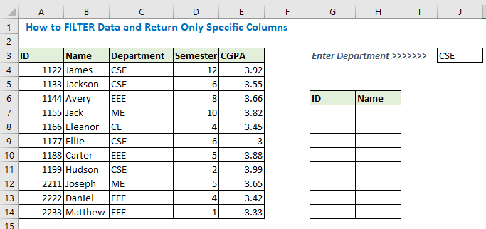 how to filter data and return only specific columns