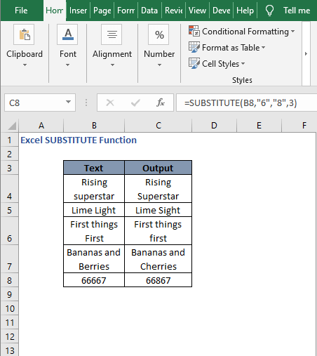 Instance examples - Excel SUBSTITUTE Function