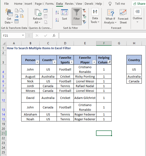 Filter data - How To Search Multiple Items In Excel Filter