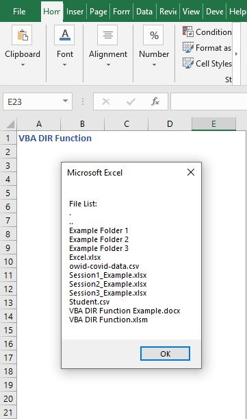 Code result to find all files and folders- VBA DIR Function
