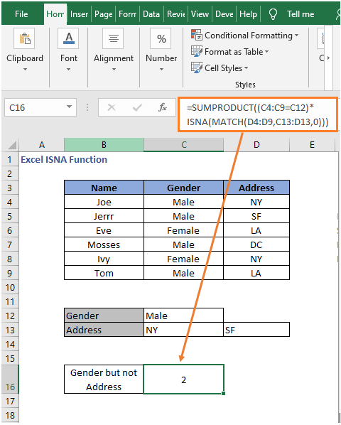 NOT logic ISNA- Excel ISNA Function