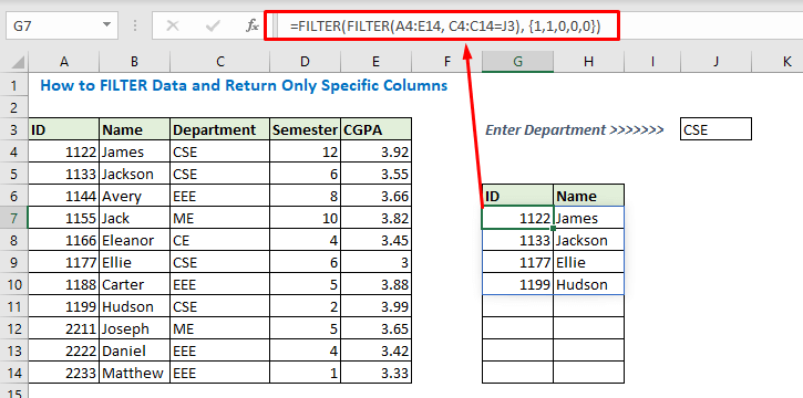 Enter formula using two FILTER function