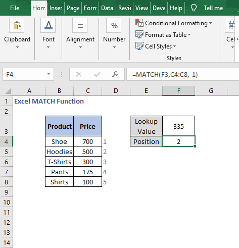 Approximate match -1 - Excel MATCH Function