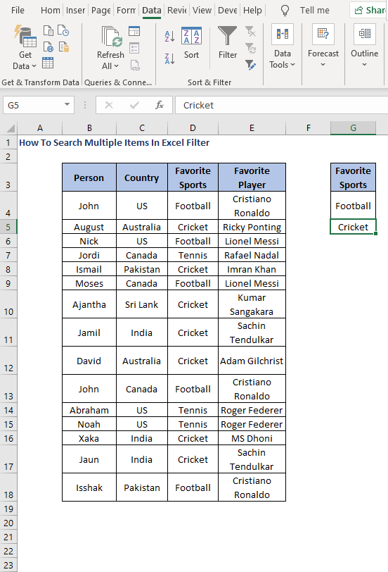 Advanced option - How To Search Multiple Items In Excel Filter