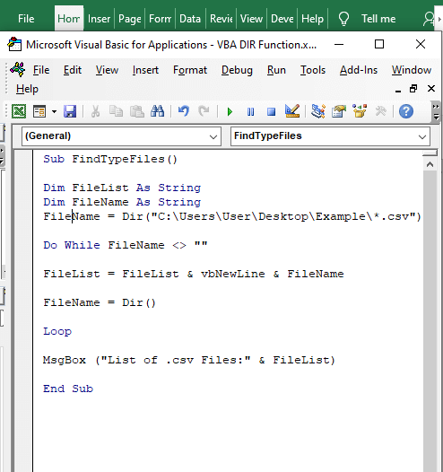 Code to find specific file - VBA DIR Function