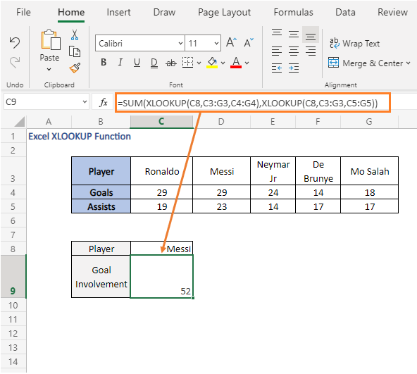 nested formula use - SUM - Excel XLOOKUP Function