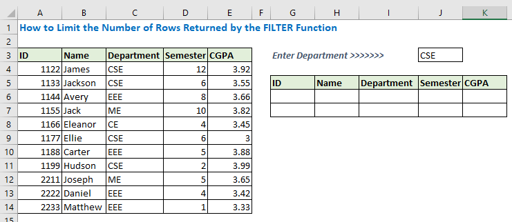 How to Limit the Number of Rows Returned by the FILTER Function