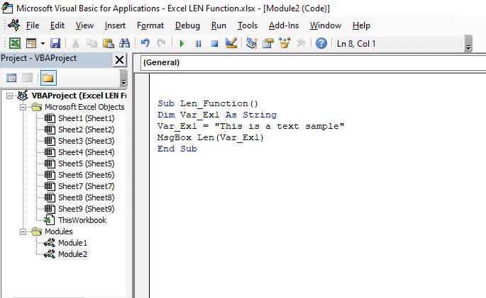 VBA code for LEN function