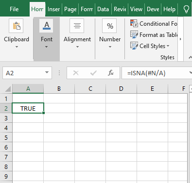 Direct input result - Excel ISNA Function