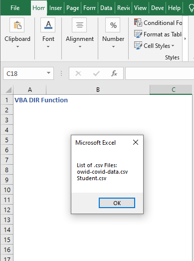 Code result to find specific file - VBA DIR Function
