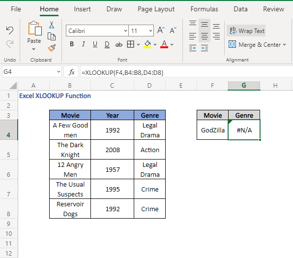 N/A error - Excel XLOOKUP Function