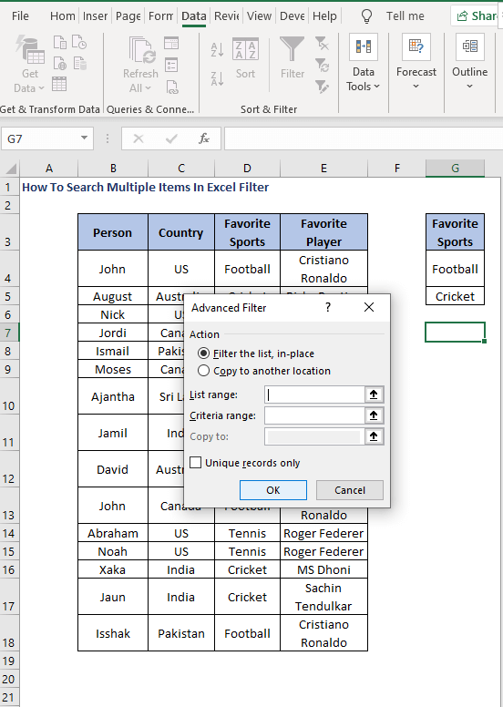 Advanced filter dialog -How To Search Multiple Items In Excel Filter