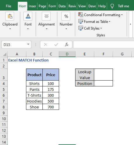 Example sheet - Excel MATCH Function