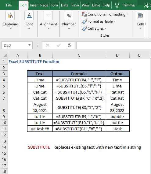 Overview - Excel SUBSTITUTE Function