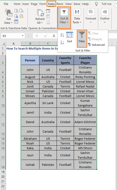 Filter option - How To Search Multiple Items In Excel Filter