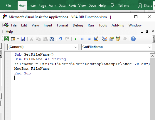 Code to find file name - VBA DIR Function
