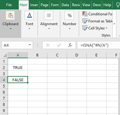 Text input result- Excel ISNA Function