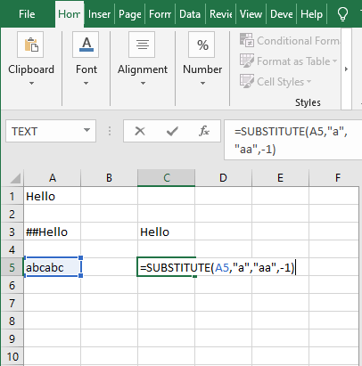 instance num less than 0 - Excel SUBSTITUTE Function