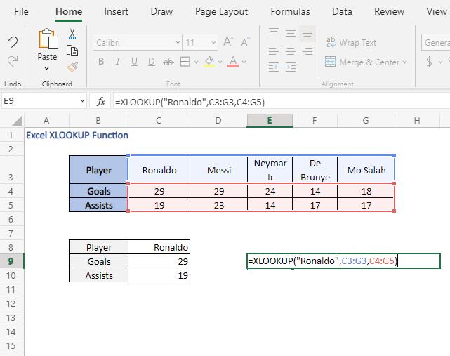 Direct input - Excel XLOOKUP Function