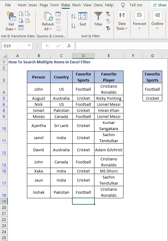 Filtered data using Advanced filter - How To Search Multiple Items In Excel Filter