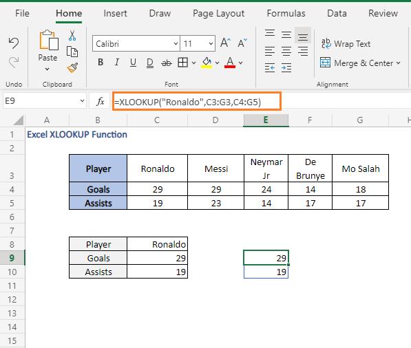 Direct input result - Excel XLOOKUP Function