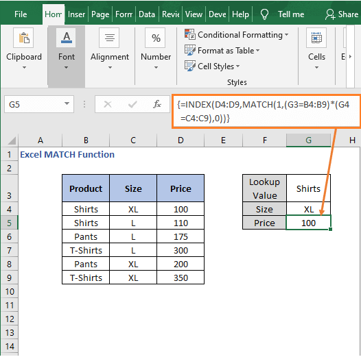 Result Array formula - Excel MATCH Function