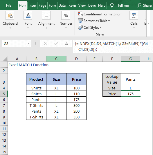 Array formula Example - Excel MATCH Function