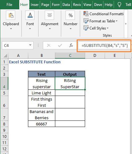 Result without instance num - Excel SUBSTITUTE Function