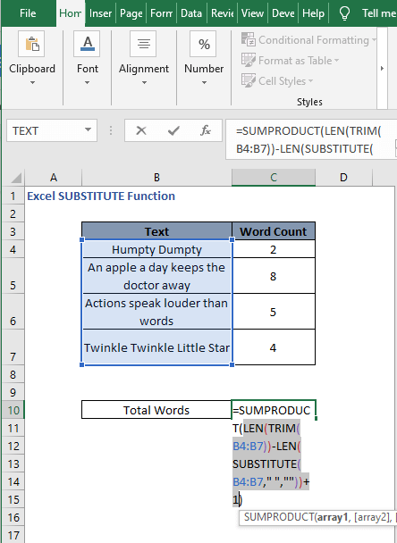Select inside portion - Excel SUBSTITUTE Function
