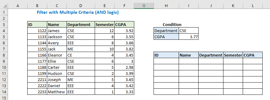 Filter with multiple criteria using AND logic