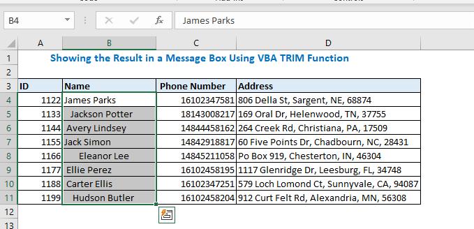 Select name column