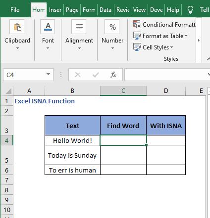 Dataset FIND - Excel ISNA Function