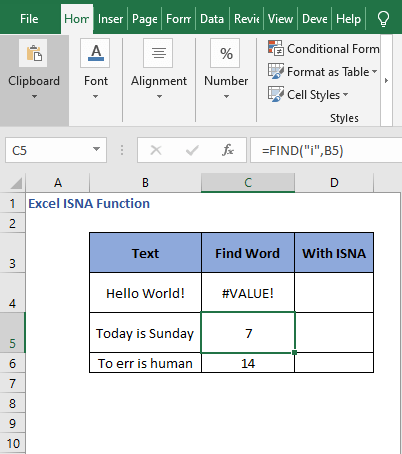 FIND i in text - Excel ISNA Function