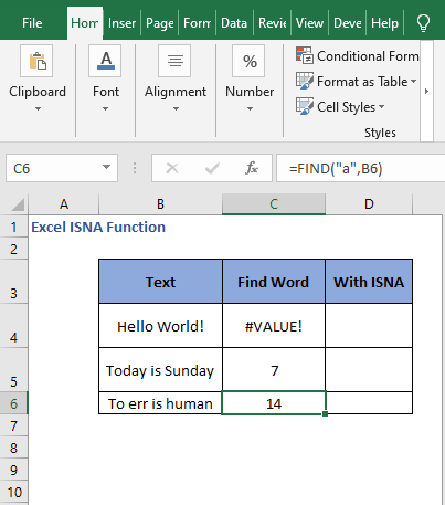 FIND a in text - Excel ISNA Function