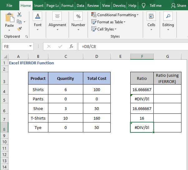 Divide All - Excel IFERROR Function
