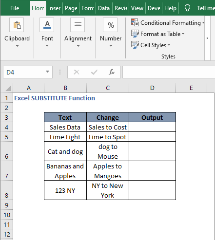 Text dataset 1- Excel SUBSTITUTE Function