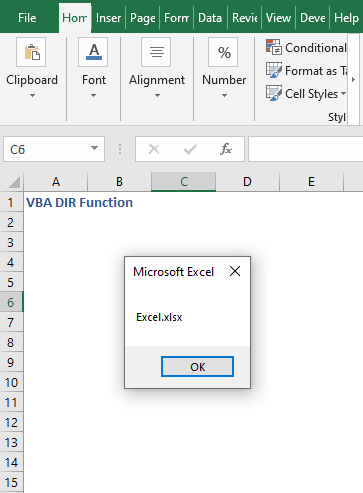 Code output to find file name - VBA DIR Function